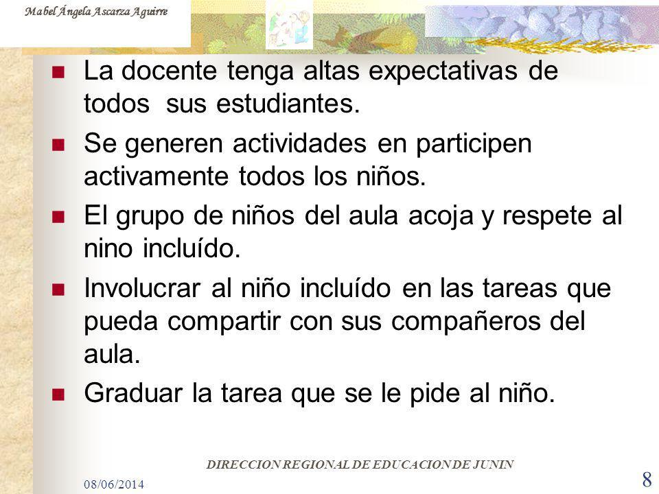 08/06/2014 8 La docente tenga altas expectativas de todos sus estudiantes. Se generen actividades en participen activamente todos los niños. El grupo