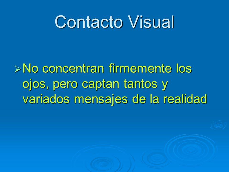 Contacto Visual No concentran firmemente los ojos, pero captan tantos y variados mensajes de la realidad No concentran firmemente los ojos, pero capta