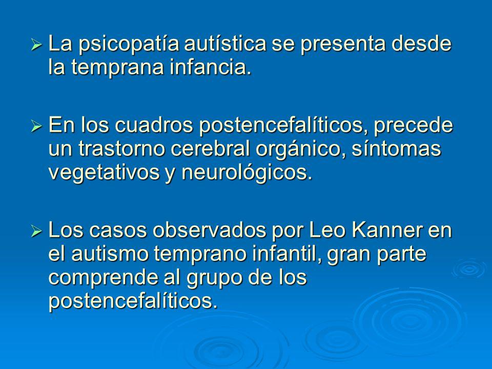 La psicopatía autística se presenta desde la temprana infancia. La psicopatía autística se presenta desde la temprana infancia. En los cuadros postenc