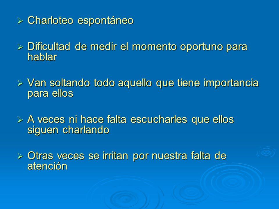 Charloteo espontáneo Charloteo espontáneo Dificultad de medir el momento oportuno para hablar Dificultad de medir el momento oportuno para hablar Van