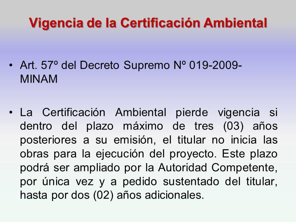 Vigencia de la Certificación Ambiental Art.