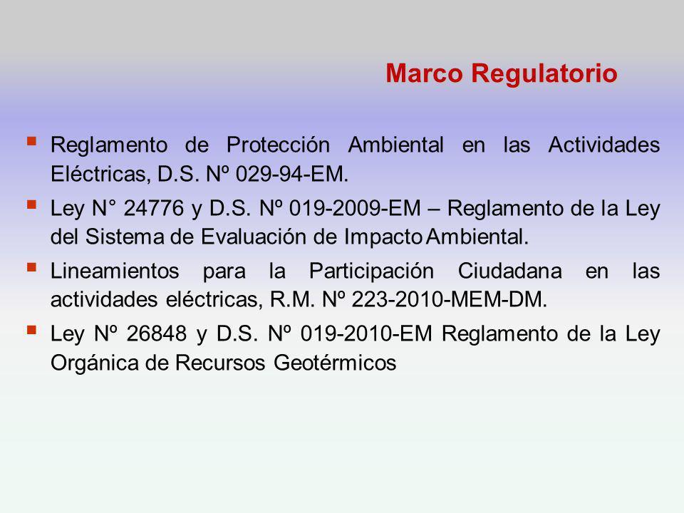 Marco Regulatorio Reglamento de Protección Ambiental en las Actividades Eléctricas, D.S.