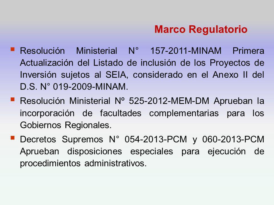 Marco Regulatorio Resolución Ministerial N° 157-2011-MINAM Primera Actualización del Listado de inclusión de los Proyectos de Inversión sujetos al SEIA, considerado en el Anexo II del D.S.
