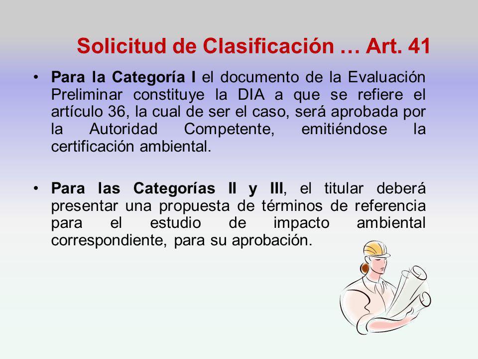 Solicitud de Clasificación … Art.
