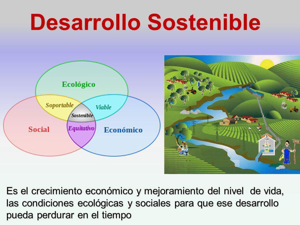 Desarrollo Sostenible Es el crecimiento económico y mejoramiento del nivel de vida, las condiciones ecológicas y sociales para que ese desarrollo pueda perdurar en el tiempo