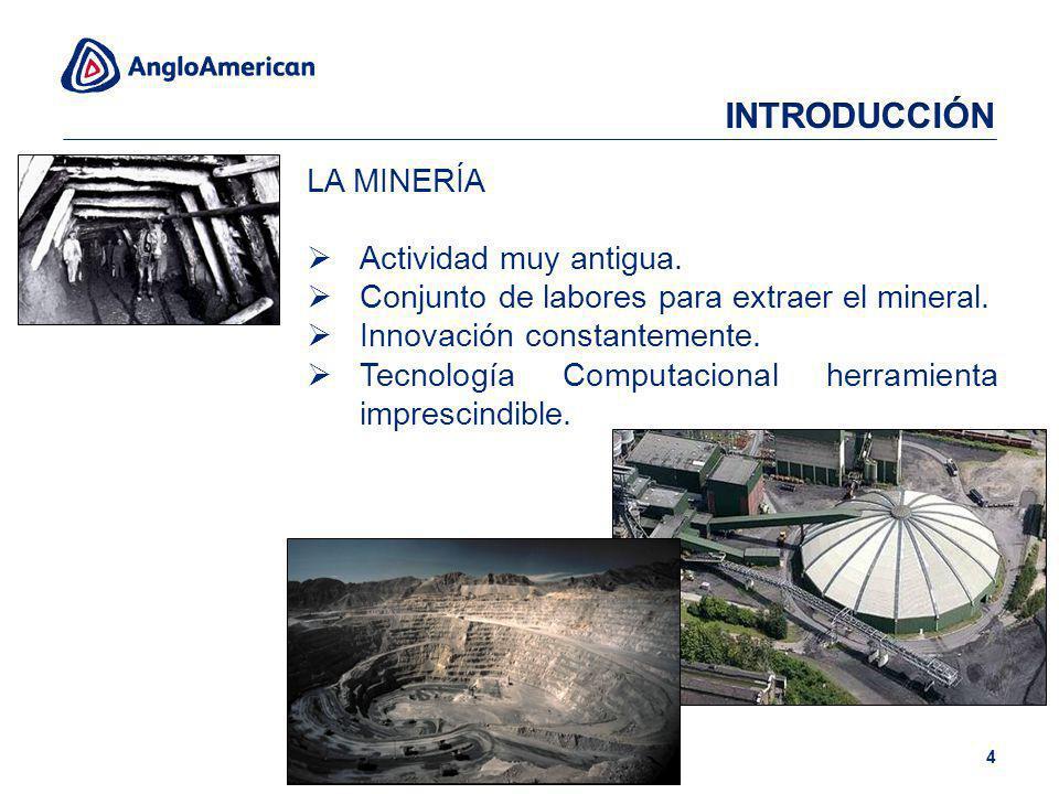 LA MINERÍA Actividad muy antigua. Conjunto de labores para extraer el mineral. Innovación constantemente. Tecnología Computacional herramienta impresc