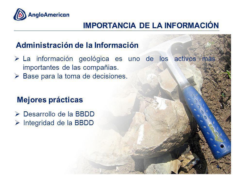 La información geológica es uno de los activos más importantes de las compañias. Base para la toma de decisiones. Desarrollo de la BBDD Integridad de
