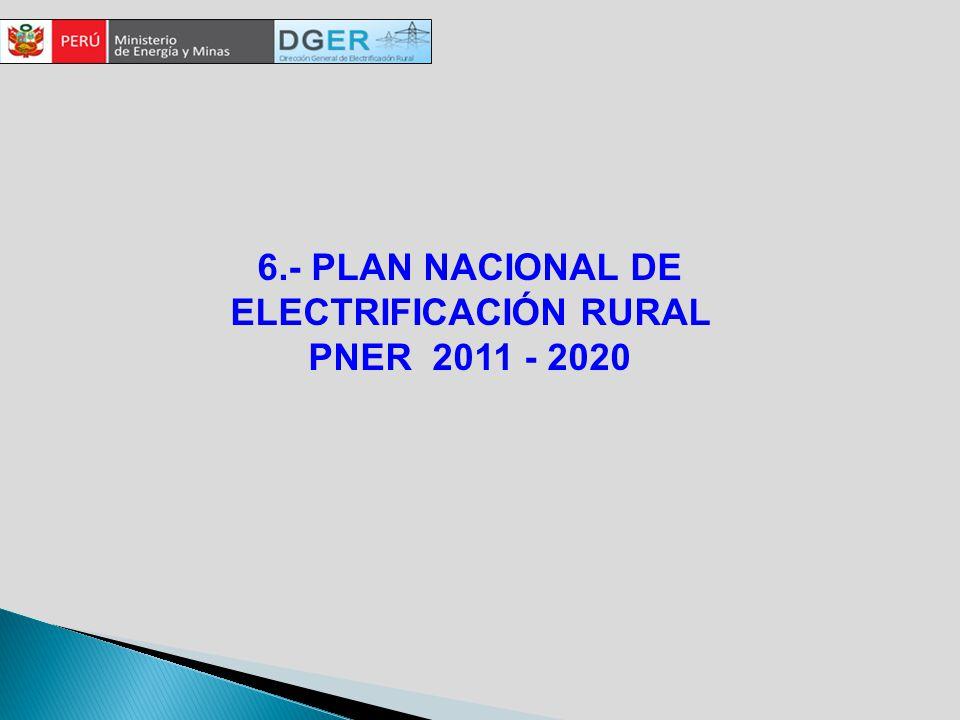 6.- PLAN NACIONAL DE ELECTRIFICACIÓN RURAL PNER 2011 - 2020