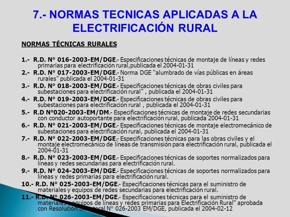 NORMAS TÉCNICAS RURALES 1.- R.D. N° 016-2003-EM/DGE.- Especificaciones técnicas de montaje de líneas y redes primarias para electrificación rural,publ