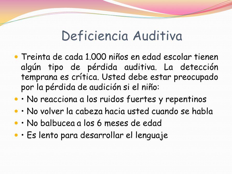 Deficiencia Auditiva Treinta de cada 1.000 niños en edad escolar tienen algún tipo de pérdida auditiva.