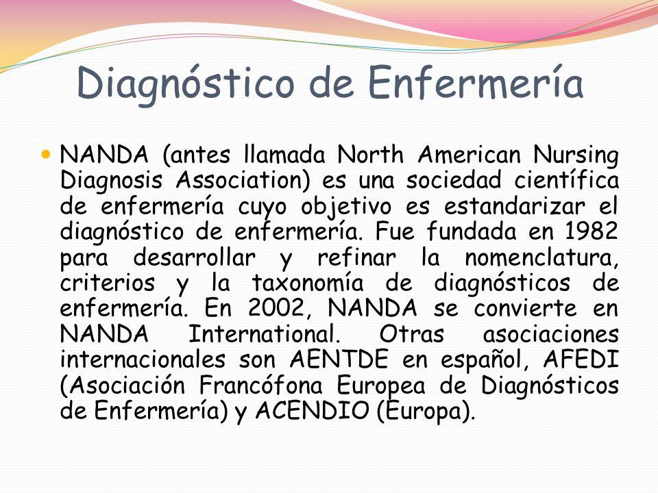 Diagnóstico de Enfermería NANDA (antes llamada North American Nursing Diagnosis Association) es una sociedad científica de enfermería cuyo objetivo es estandarizar el diagnóstico de enfermería.