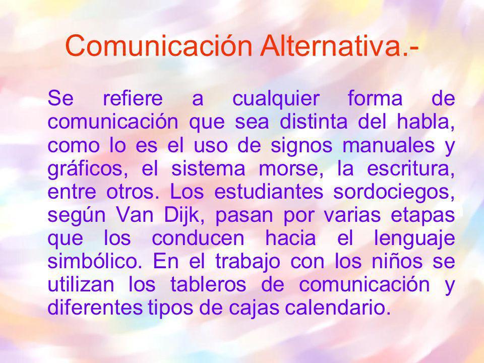 Se refiere a cualquier forma de comunicación que sea distinta del habla, como lo es el uso de signos manuales y gráficos, el sistema morse, la escritu