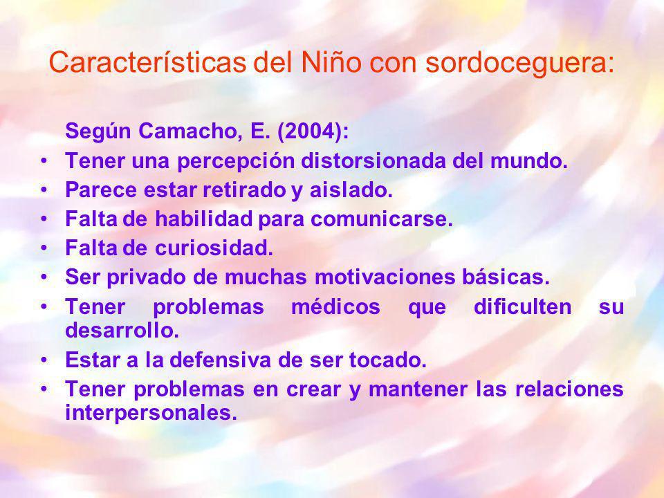 Según Camacho, E. (2004): Tener una percepción distorsionada del mundo. Parece estar retirado y aislado. Falta de habilidad para comunicarse. Falta de