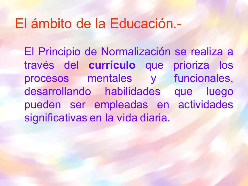El ámbito de la Educación.- El Principio de Normalización se realiza a través del currículo que prioriza los procesos mentales y funcionales, desarrol