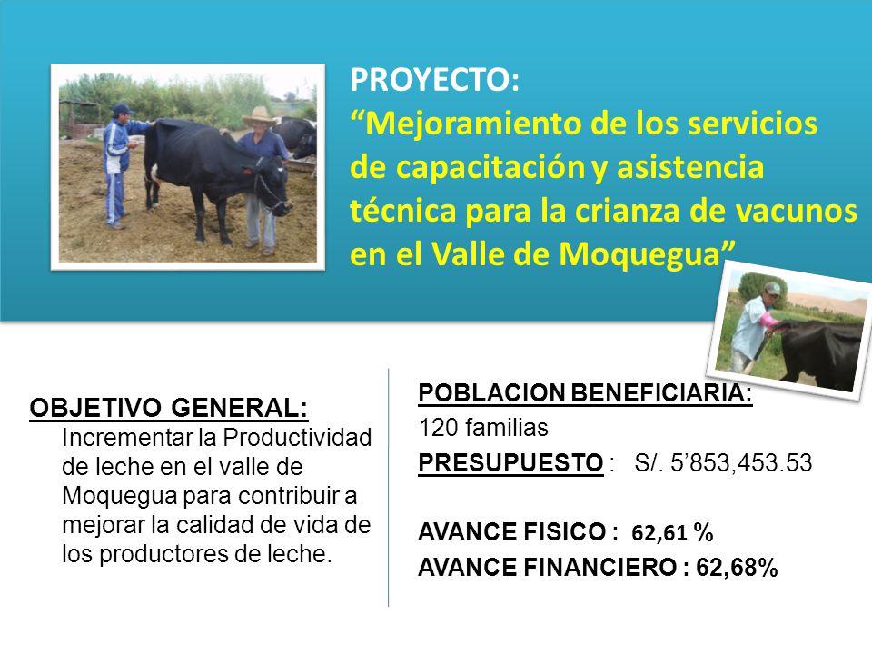 OBJETIVO GENERAL: Incrementar la Productividad de leche en el valle de Moquegua para contribuir a mejorar la calidad de vida de los productores de lec