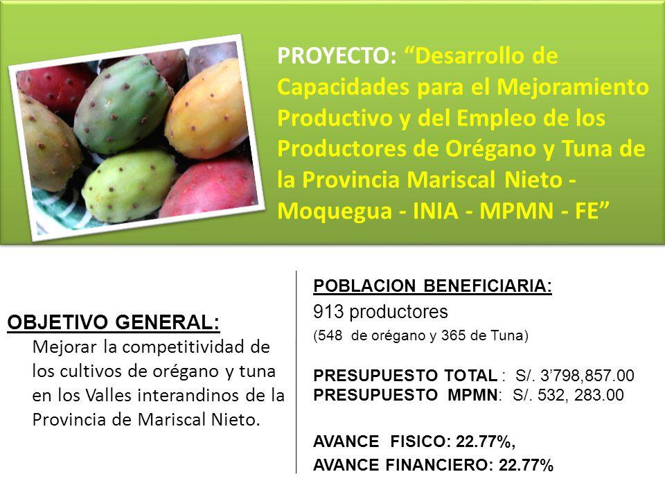 OBJETIVO GENERAL: Mejorar la competitividad de los cultivos de orégano y tuna en los Valles interandinos de la Provincia de Mariscal Nieto. PROYECTO: