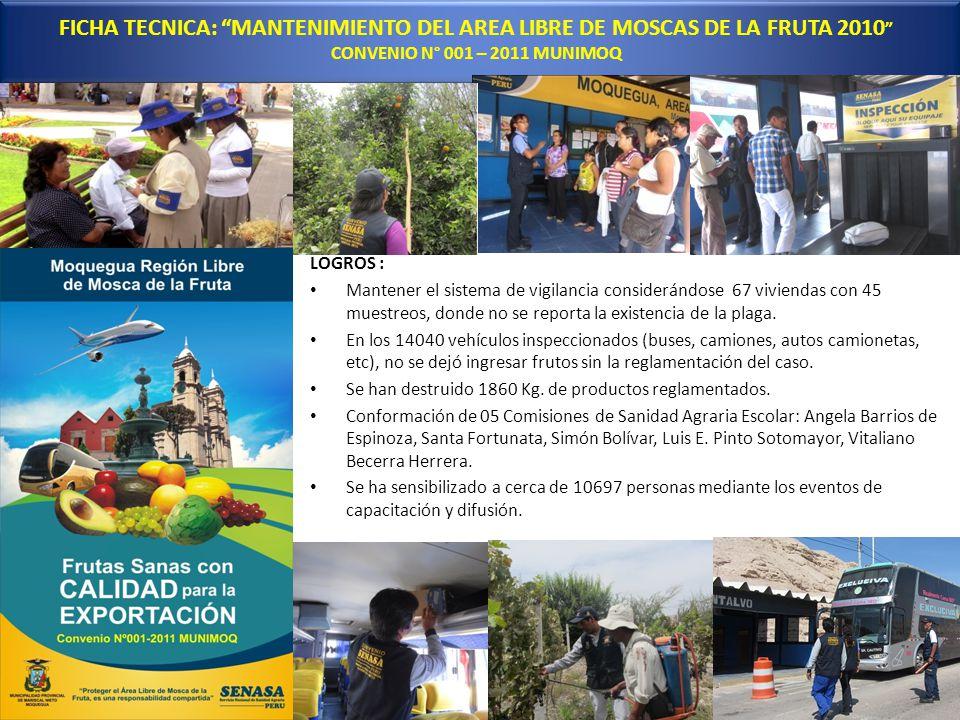 FICHA TECNICA: MANTENIMIENTO DEL AREA LIBRE DE MOSCAS DE LA FRUTA 2010 CONVENIO N° 001 – 2011 MUNIMOQ LOGROS : Mantener el sistema de vigilancia consi
