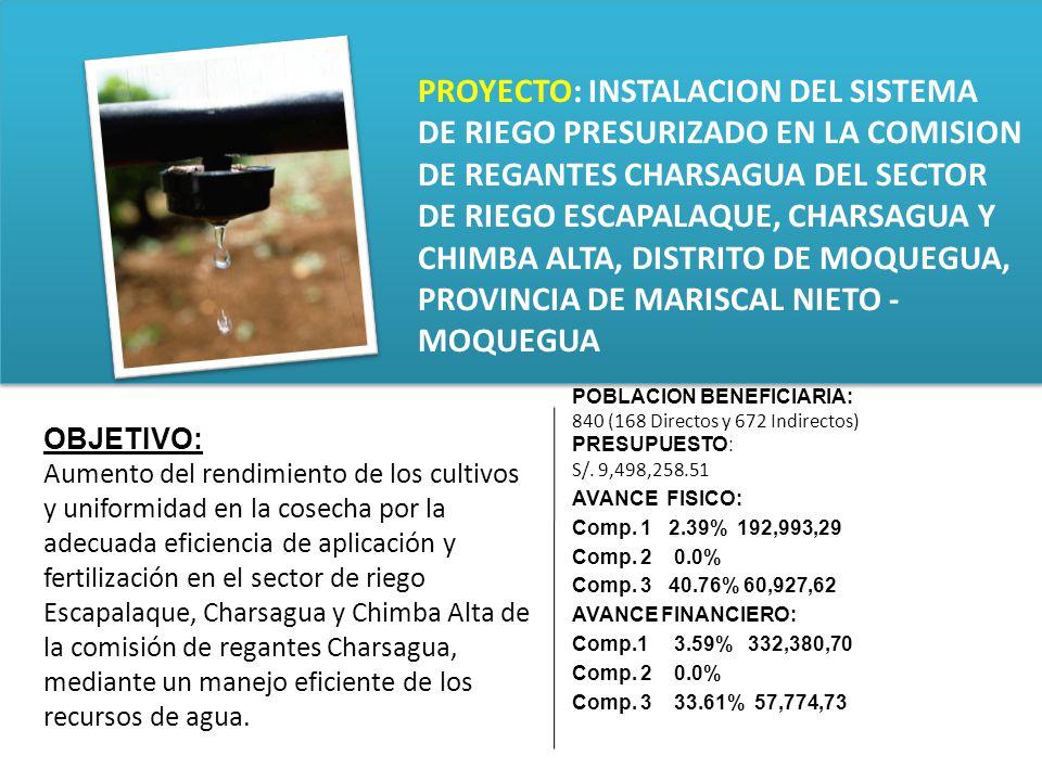 PROYECTO: INSTALACION DE LOS SERVICIO DE PROTECCION CONTRA AVENIDAS EN LAS QUEBRADAS DE INCIDENCIA EN LA PROVINCIA DE MARISCAL NIETO DESCRIPCION DEL PROYECTO Implementación y Mejoramiento de los servicios de protección.