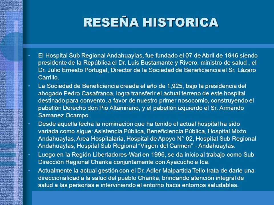 El Hospital Sub Regional Andahuaylas, fue fundado el 07 de Abril de 1946 siendo presidente de la República el Dr. Luis Bustamante y Rivero, ministro d