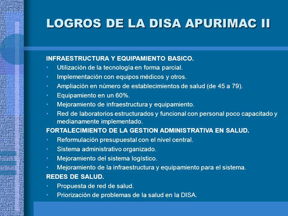 INFRAESTRUCTURA Y EQUIPAMIENTO BASICO. Utilización de la tecnología en forma parcial. Implementación con equipos médicos y otros. Ampliación en número
