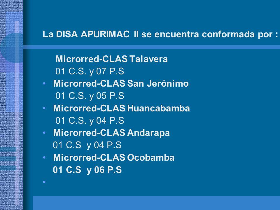 La DISA APURIMAC II se encuentra conformada por : Microrred-CLAS Talavera 01 C.S. y 07 P.S Microrred-CLAS San Jerónimo 01 C.S. y 05 P.S Microrred-CLAS