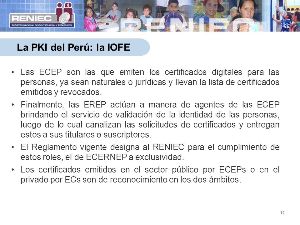 12 La PKI del Perú: la IOFE Las ECEP son las que emiten los certificados digitales para las personas, ya sean naturales o jurídicas y llevan la lista