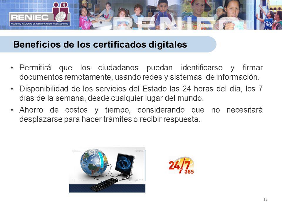 19 Beneficios de los certificados digitales Permitirá que los ciudadanos puedan identificarse y firmar documentos remotamente, usando redes y sistemas