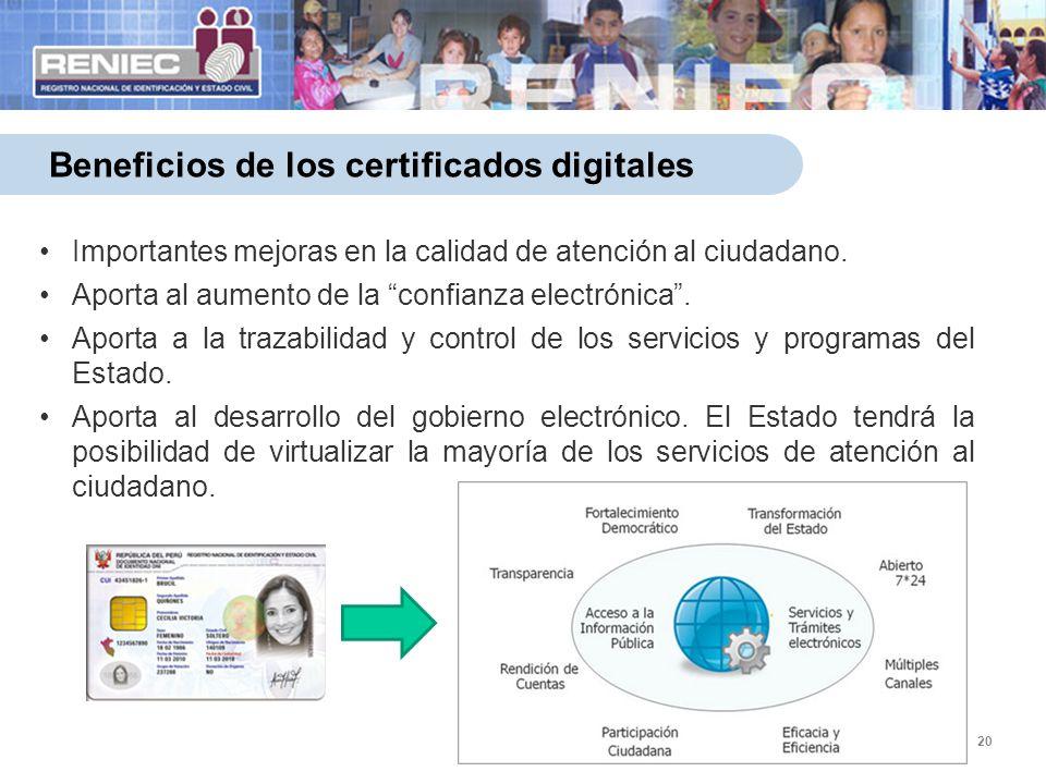 20 Beneficios de los certificados digitales Importantes mejoras en la calidad de atención al ciudadano.Importantes mejoras en la calidad de atención a