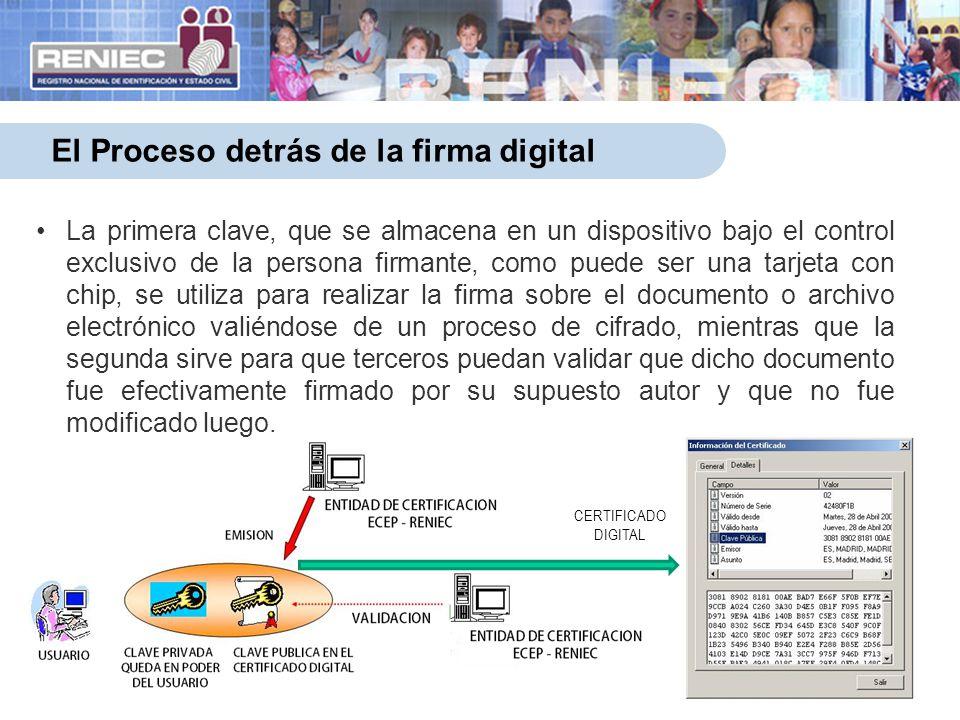 4 El Proceso detrás de la firma digital La primera clave, que se almacena en un dispositivo bajo el control exclusivo de la persona firmante, como pue