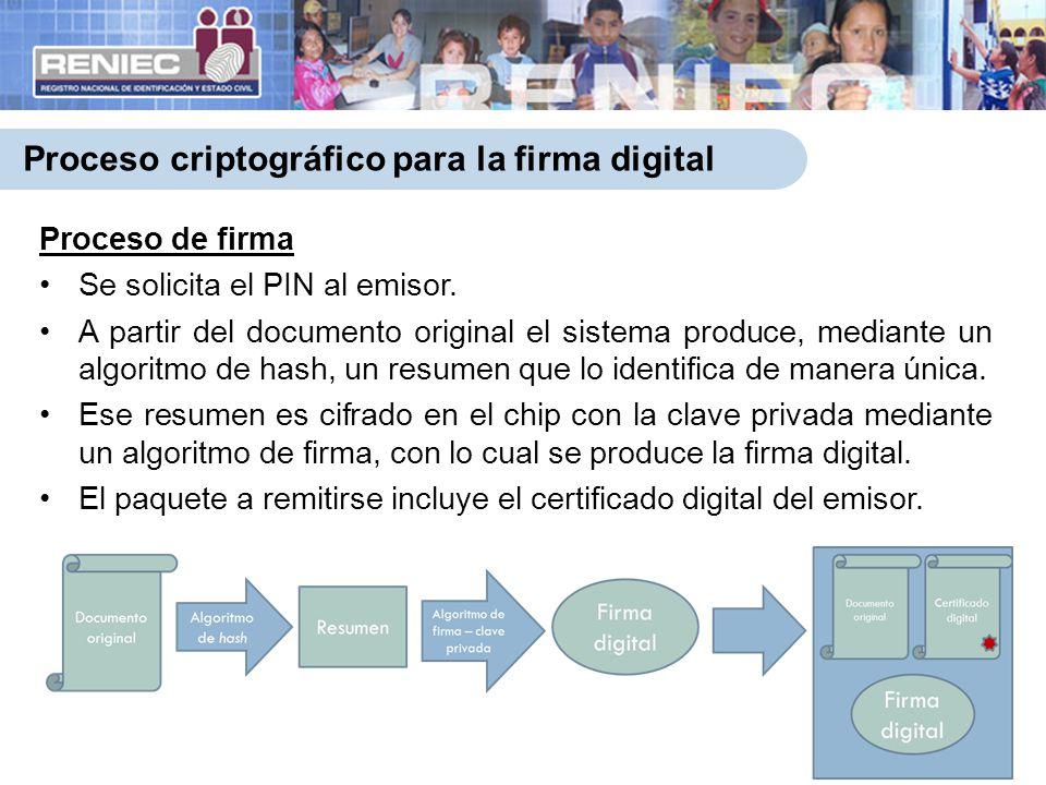 Proceso criptográfico para la firma digital 7 Proceso de firma Se solicita el PIN al emisor. A partir del documento original el sistema produce, media