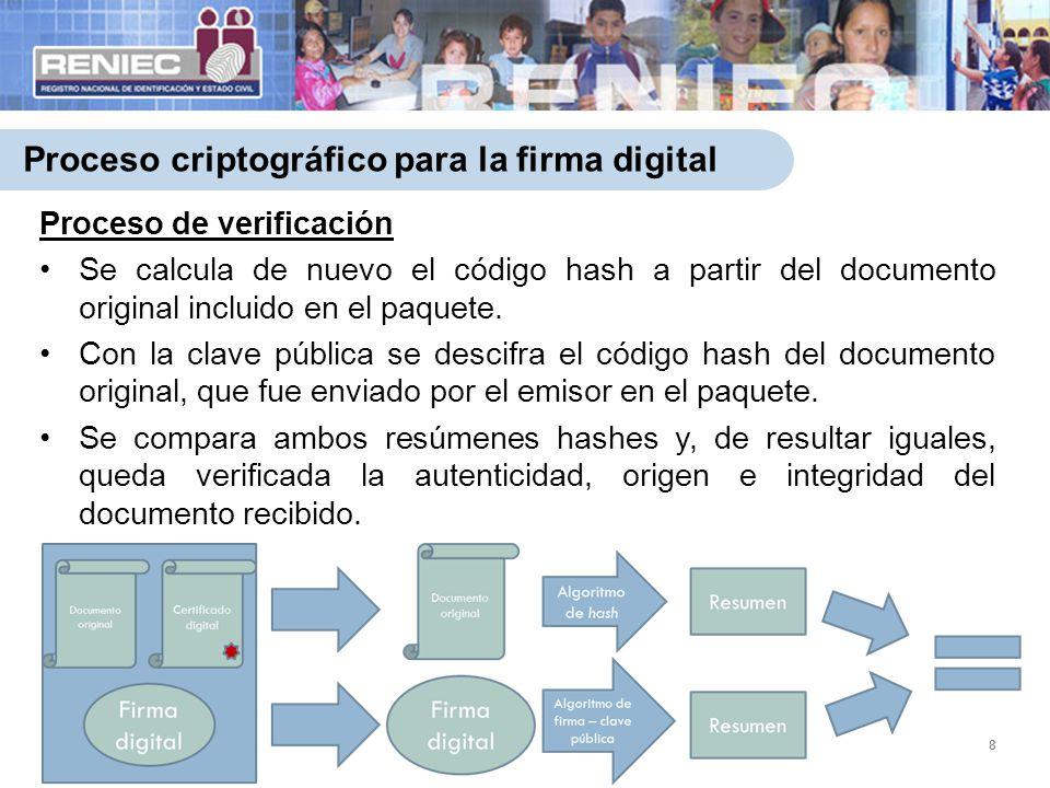 Proceso criptográfico para la firma digital 8 Proceso de verificación Se calcula de nuevo el código hash a partir del documento original incluido en e