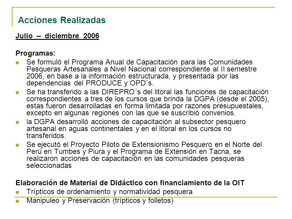 Acciones Realizadas Julio – diciembre 2006 Programas: Se formuló el Programa Anual de Capacitación para las Comunidades Pesqueras Artesanales a Nivel