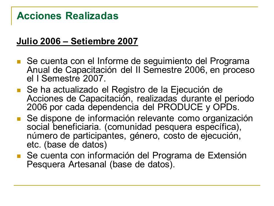 Acciones Realizadas Julio 2006 – Setiembre 2007 Se cuenta con el Informe de seguimiento del Programa Anual de Capacitación del II Semestre 2006, en pr