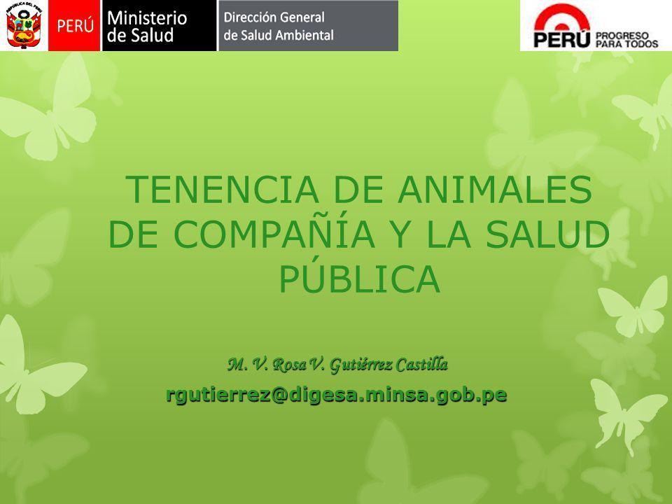 TENENCIA DE ANIMALES DE COMPAÑÍA Y LA SALUD PÚBLICA M. V. Rosa V. Gutiérrez Castilla rgutierrez@digesa.minsa.gob.pe