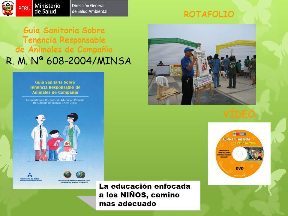 R. M. Nª 608-2004/MINSA Guía Sanitaria Sobre Tenencia Responsable de Animales de Compañía La educación enfocada a los NIÑOS, camino mas adecuado ROTAF