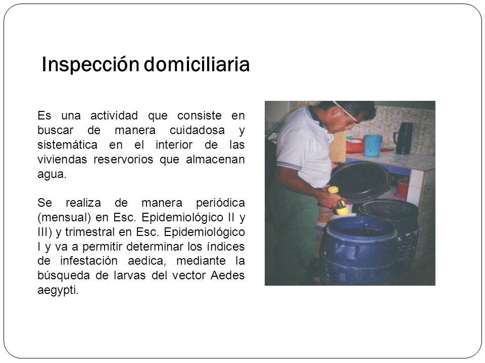 Inspección domiciliaria Es una actividad que consiste en buscar de manera cuidadosa y sistemática en el interior de las viviendas reservorios que almacenan agua.