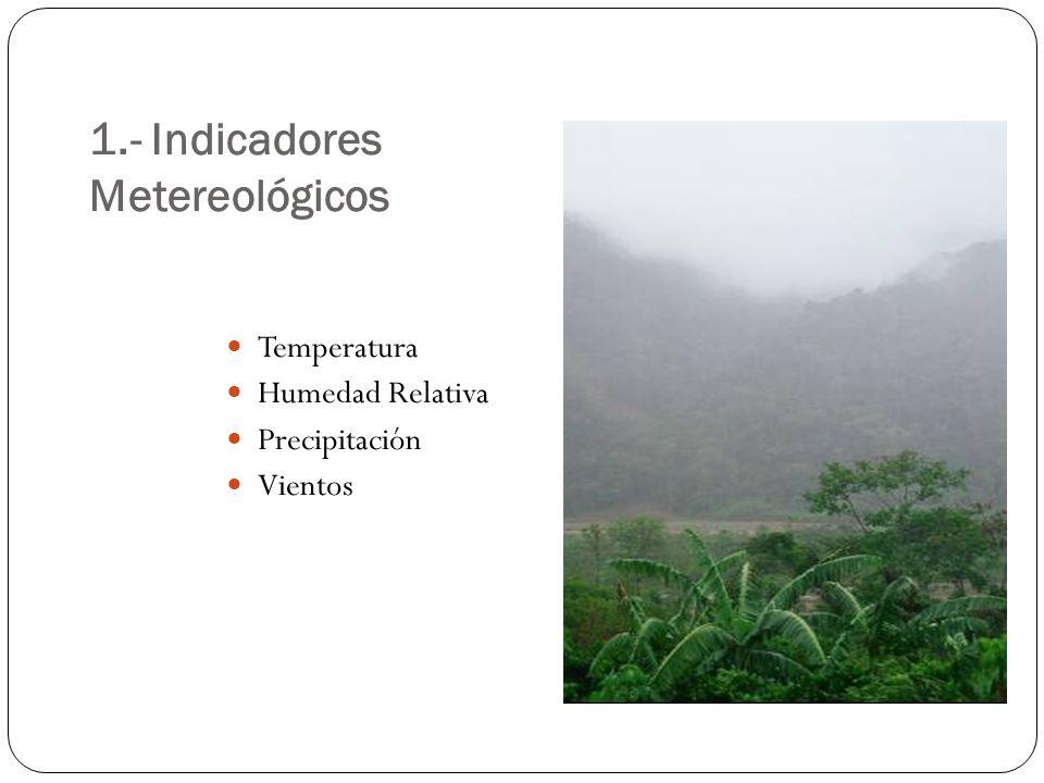 1.- Indicadores Metereológicos Temperatura Humedad Relativa Precipitación Vientos