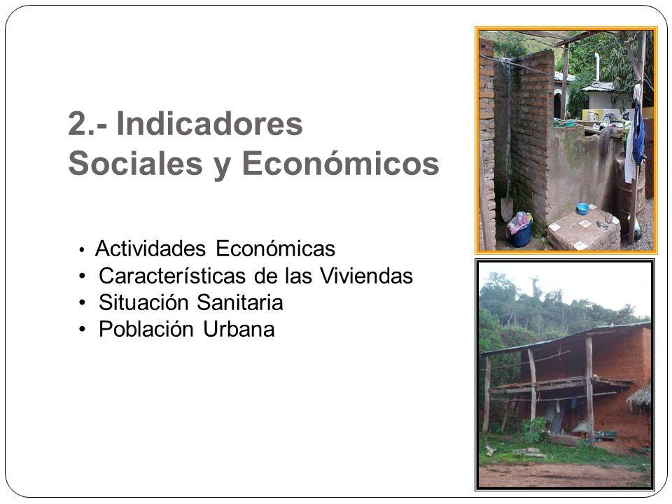 2.- Indicadores Sociales y Económicos Actividades Económicas Características de las Viviendas Situación Sanitaria Población Urbana
