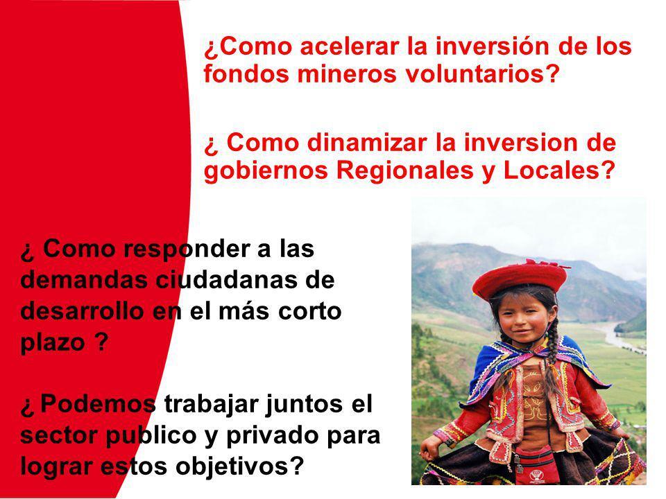 ¿Como acelerar la inversión de los fondos mineros voluntarios? ¿ Como dinamizar la inversion de gobiernos Regionales y Locales? ¿ Como responder a las