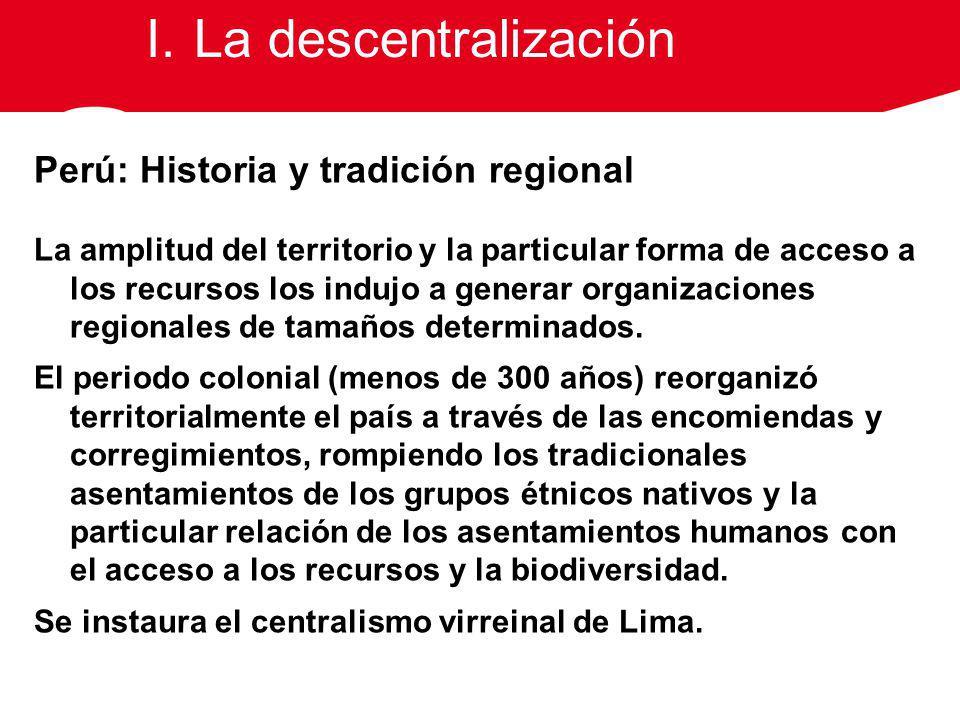Perú: Historia y tradición regional La amplitud del territorio y la particular forma de acceso a los recursos los indujo a generar organizaciones regi