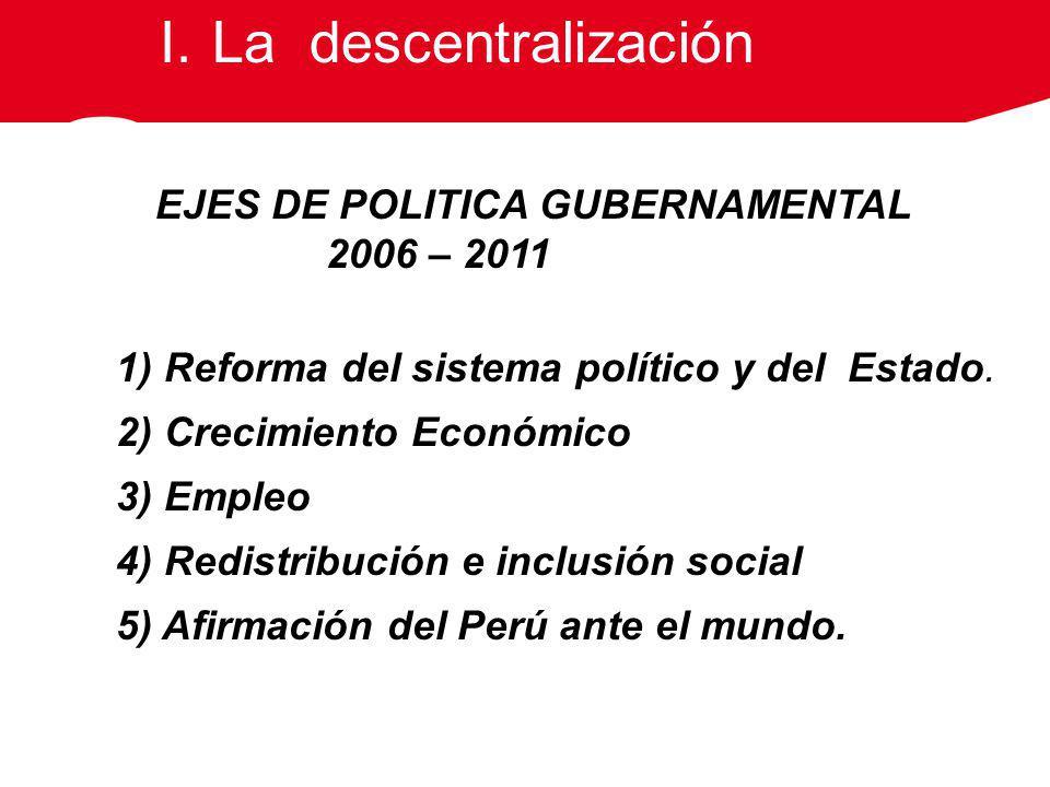 EJES DE POLITICA GUBERNAMENTAL 2006 – 2011 1) Reforma del sistema político y del Estado. 2) Crecimiento Económico 3) Empleo 4) Redistribución e inclus