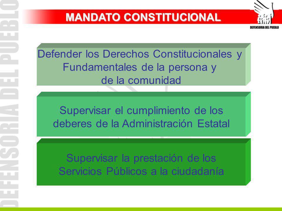 Supervisar la prestación de los Servicios Públicos a la ciudadanía Supervisar el cumplimiento de los deberes de la Administración Estatal Defender los