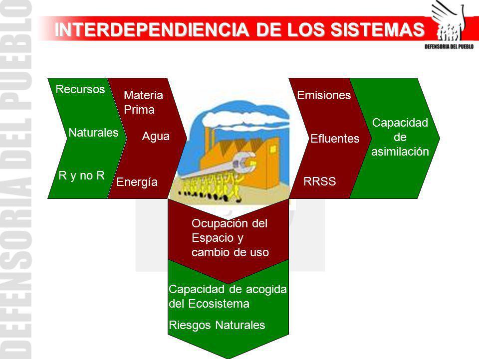 INTERDEPENDIENCIA DE LOS SISTEMAS Materia Prima Agua Energía Recursos Naturales R y no R Ocupación del Espacio y cambio de uso Capacidad de acogida de