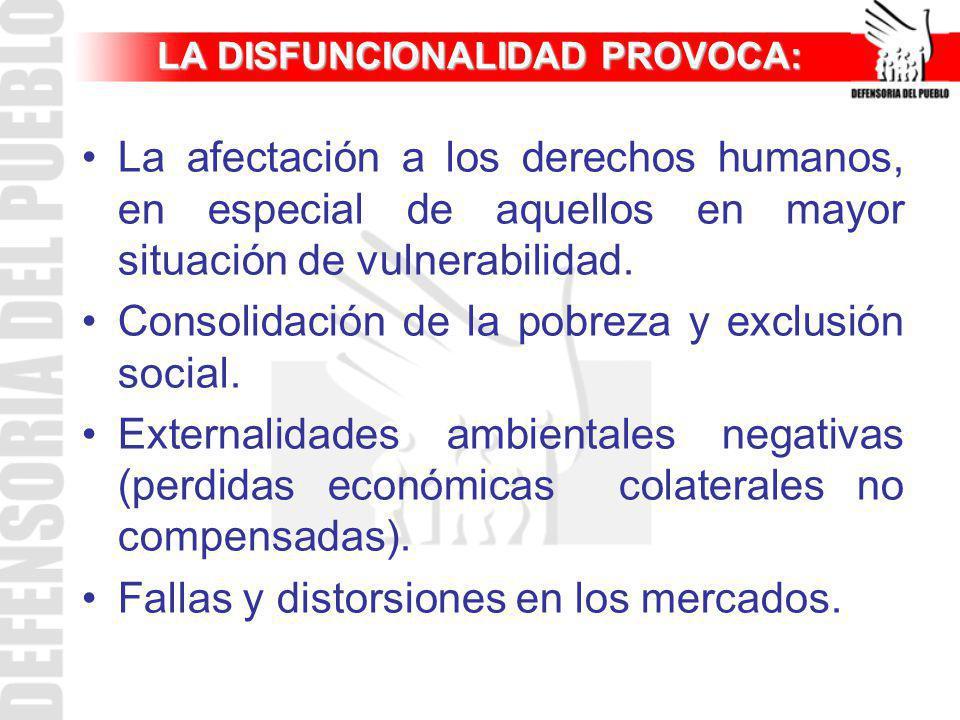 LA DISFUNCIONALIDAD PROVOCA: La afectación a los derechos humanos, en especial de aquellos en mayor situación de vulnerabilidad. Consolidación de la p