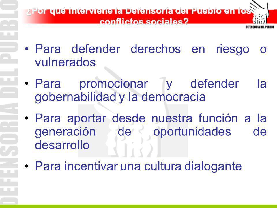 ¿Por qué interviene la Defensoría del Pueblo en los conflictos sociales? Para defender derechos en riesgo o vulnerados Para promocionar y defender la