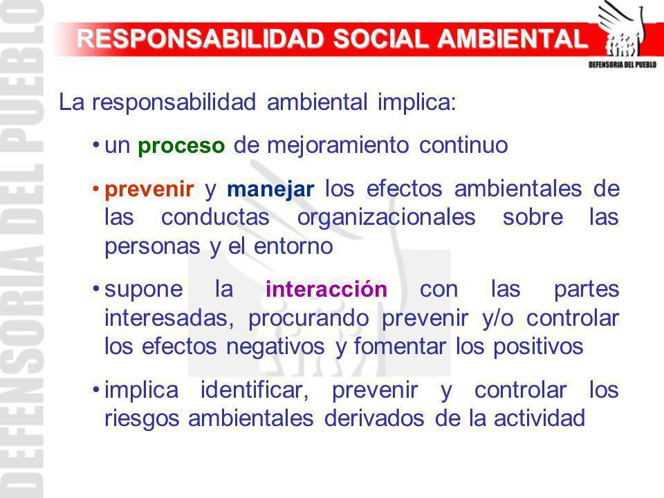 RESPONSABILIDAD SOCIAL AMBIENTAL La responsabilidad ambiental implica: un proceso de mejoramiento continuo prevenir y manejar los efectos ambientales