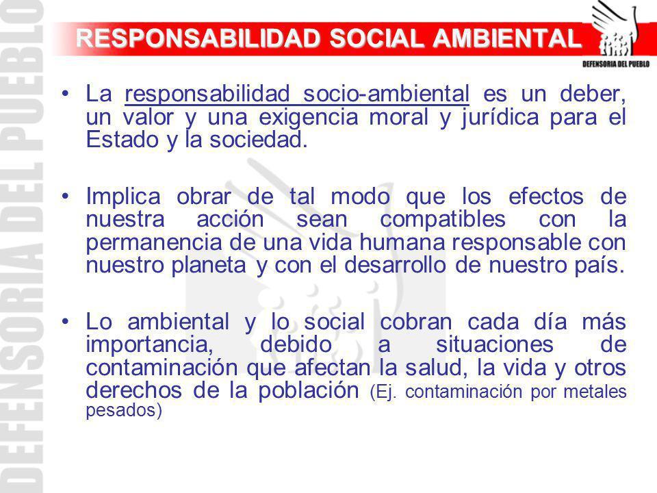 RESPONSABILIDAD SOCIAL AMBIENTAL La responsabilidad socio-ambiental es un deber, un valor y una exigencia moral y jurídica para el Estado y la socieda