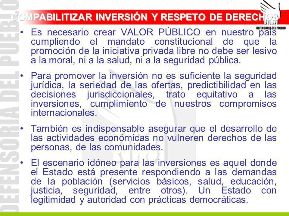 COMPABILITIZAR INVERSIÓN Y RESPETO DE DERECHOS Es necesario crear VALOR PÚBLICO en nuestro país cumpliendo el mandato constitucional de que la promoci