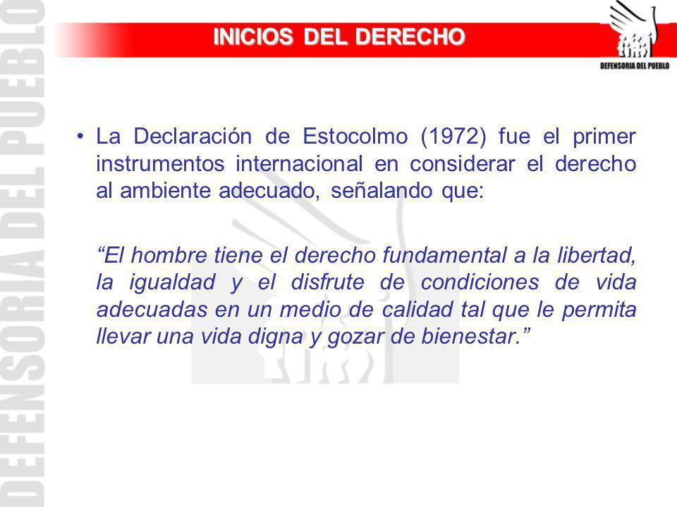 INICIOS DEL DERECHO La Declaración de Estocolmo (1972) fue el primer instrumentos internacional en considerar el derecho al ambiente adecuado, señalan