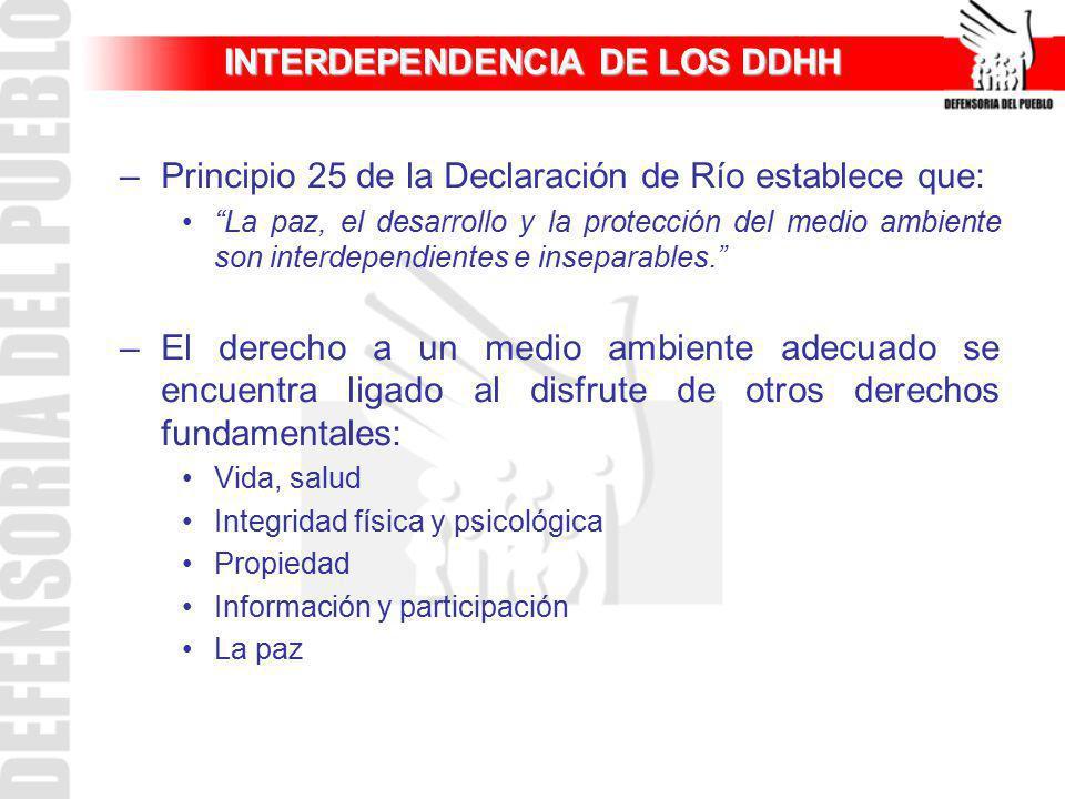 INTERDEPENDENCIA DE LOS DDHH –Principio 25 de la Declaración de Río establece que: La paz, el desarrollo y la protección del medio ambiente son interd